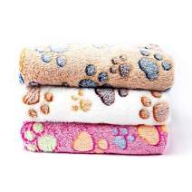 Pet Soft Dog Blanket Medium - Puppy Blankets for Medium Doggy Cats Towel Washable Cute Pattern (M, paw-3 Pieces)