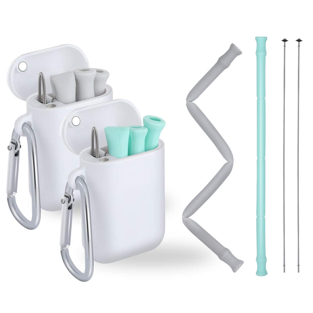TINANA Reusable Silicone Collapsible Straws Portable Drinking Straw Flexible Straws with Carrying Case and Cleaning Brush, BPA-Free(2Pack) (gray+green)