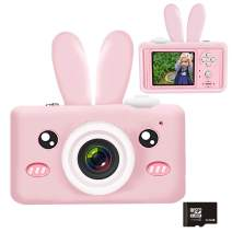 Kids Camera, Easy Hood 1080P HD 2.0 Inch IPS Screen Children Mini Video Camcorder Toy with 32GB SD Card and Soft Rabbit Silicone Cover, Gift for 4-10 Years Old Boys Girls