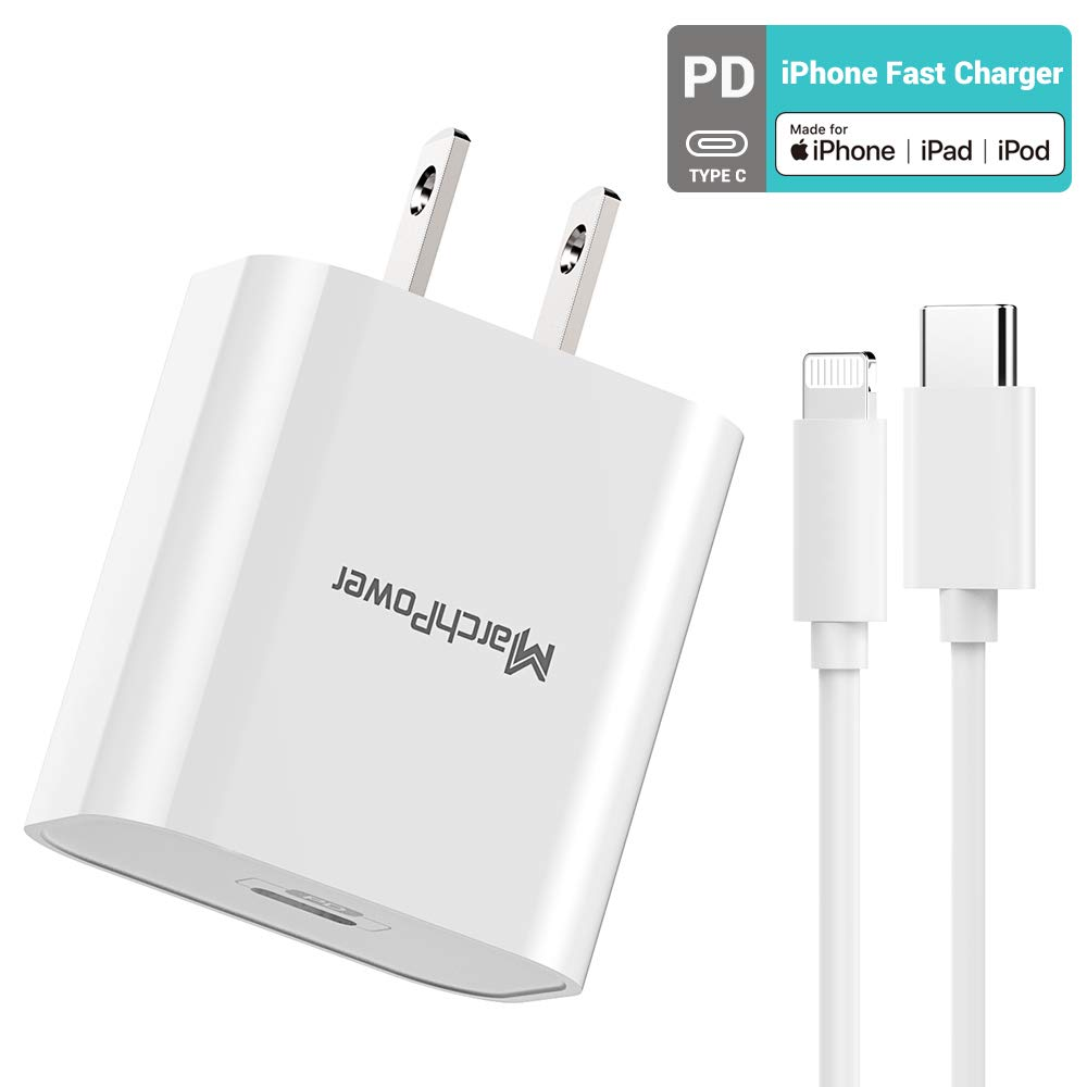 iPhone Fast Charger - Apple MFi Certified - 18W Type C Power Adapter Wall Plug with 6ft C to Lightning Cable Quick Charge Sync Cord Compatible with iPhone SE 11 Pro MAX X XS XR 8 AirPods Pro