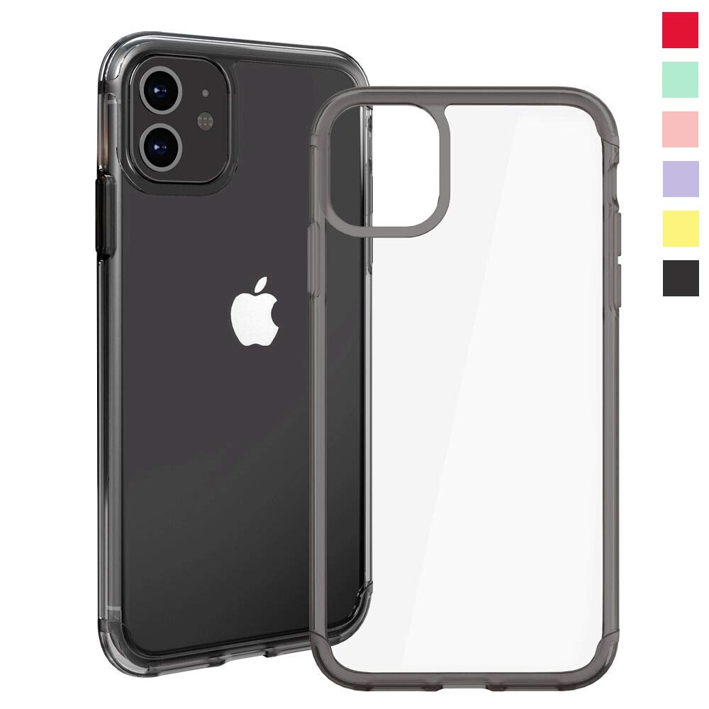 Inbeage Transparent iPhone 11 Case Colorful iPhone 11 Case with Matching Color Edge Full-Protective Shockproof Slim Case for iPhone 6.1inch (Black)