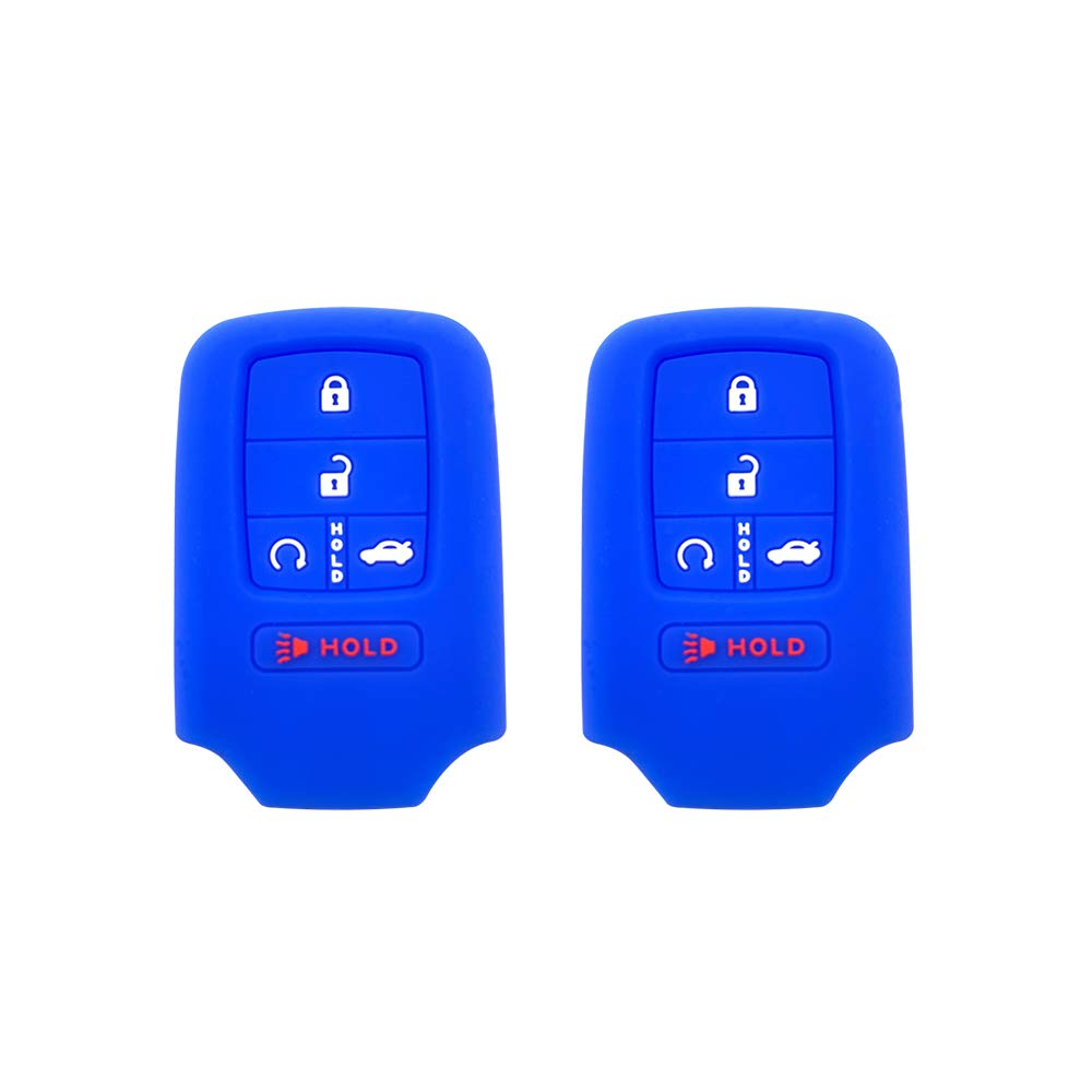 BAR Autotech Remote Key Silicone Rubber Keyless Entry Shell Case Fob and Key Skin Cover 5 Buttons Fit For 2015 2016 2017 Honda Civic Accord Pilot (Blue)