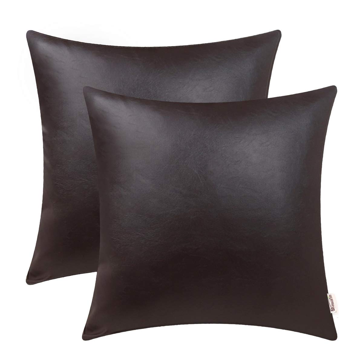 BRAWARM Pack of 2 Cozy Throw Pillow Covers Cases for Couch Sofa Home Decoration Solid Dyed Soft Faux Leather Both Sides 20 X 20 Inches Seal Brown