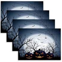 Doocilsh Halloween-Pumpkin Placemats,Three Halloween Pumpkins on Moon Halloween Placemats,4Pcs Burlap Placemat for Halloween Heat Resistant Tablemats 18X12Inch