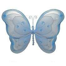"""The Butterfly Grove Alex is Butterfly Decoration 3D Three Layered Hanging Mesh Nylon Decor, Hawaiian Blue, Small, 7"""" x 5"""""""