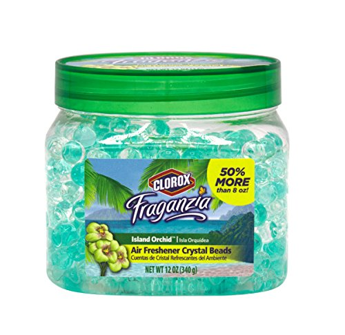 Clorox Fraganzia Crystal Beads Air Freshener   Long-Lasting Air Freshener Beads    Gel Beads Air Freshener in Island Orchard Scent for Home, Bathroom, or Car, 12 Oz