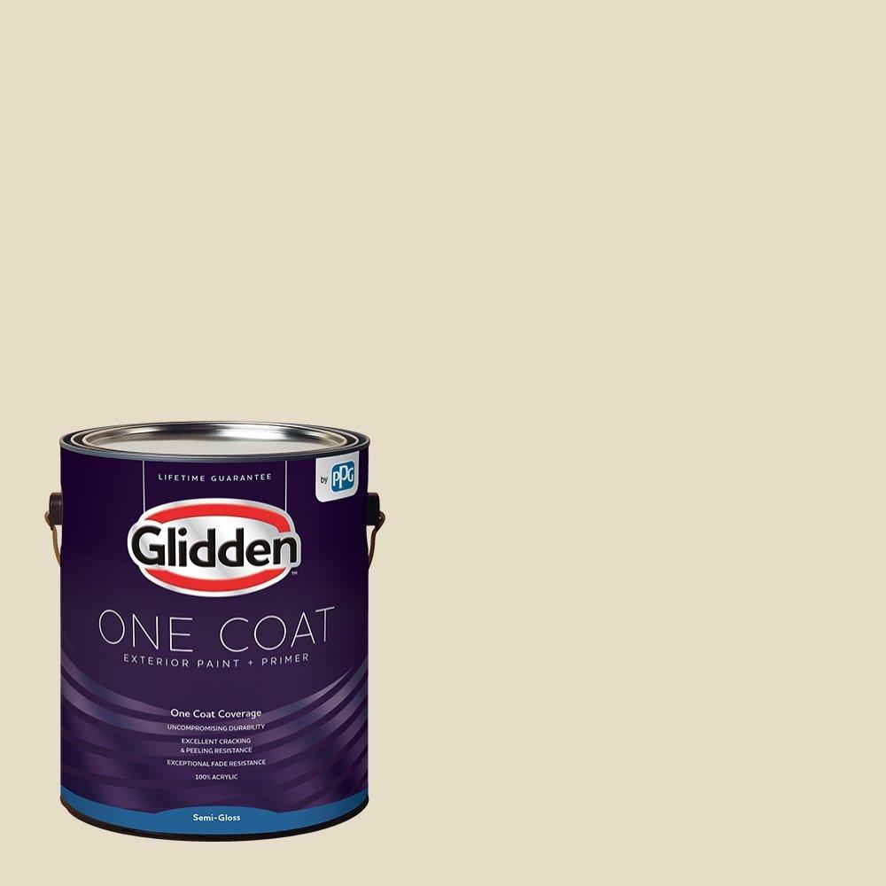 Glidden Exterior Paint + Primer: White/Navajo White, One Coat, Semi-Gloss, 1 Gallon