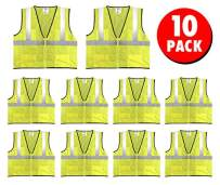 Safety Main Economy High Visibility All Mesh Vest, 3X-Large, 10 Pack