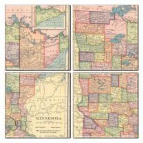 Minnesota Coaster of Vintage Map (Set of 4)