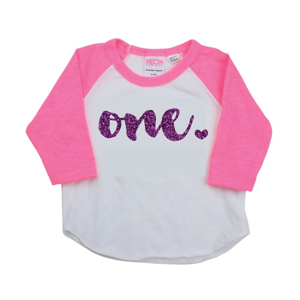 1st Birthday Girl Outfit One Year Old Pink Raglan Birthday Shirt