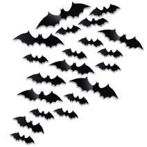 Antner 60 Pcs Halloween Party Supplies PVC 3D Bats Removable Decals Stickers Window Scary Bats Decors, Black