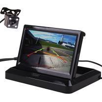 HitCar Car Vehicle Rear View Reverse Parking Kits Combo Backup Camera Small Mini Flip Down Folding Foldable Monitor Screen (5 Inch Monitor + Camera)