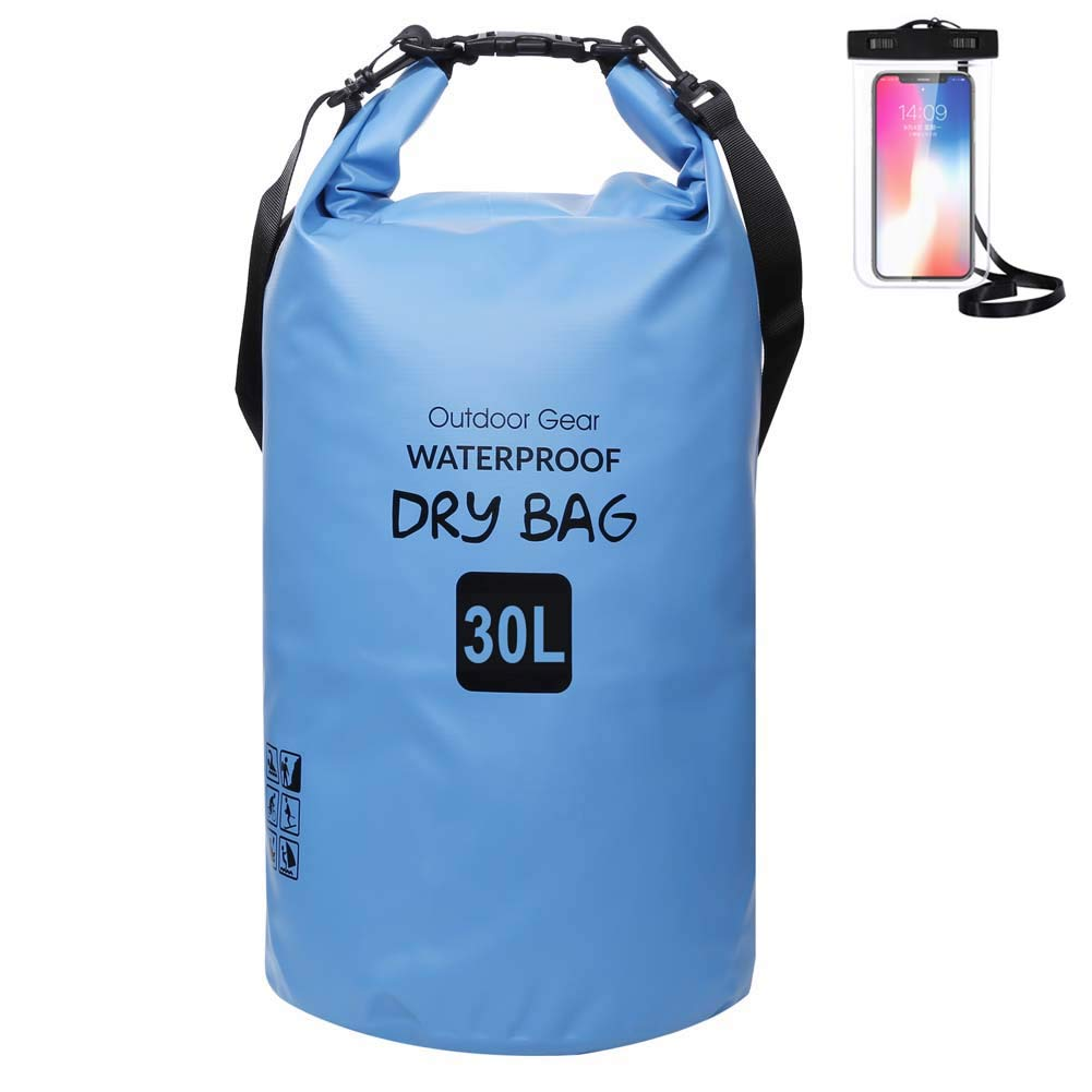 ZhaoCo Waterproof Dry Bag 5L/10L/20L/30L with Waterproof Phone Case, Keeps Gear Dry Compression Sack for Outdoor Water Sports, 7 Colours Choice