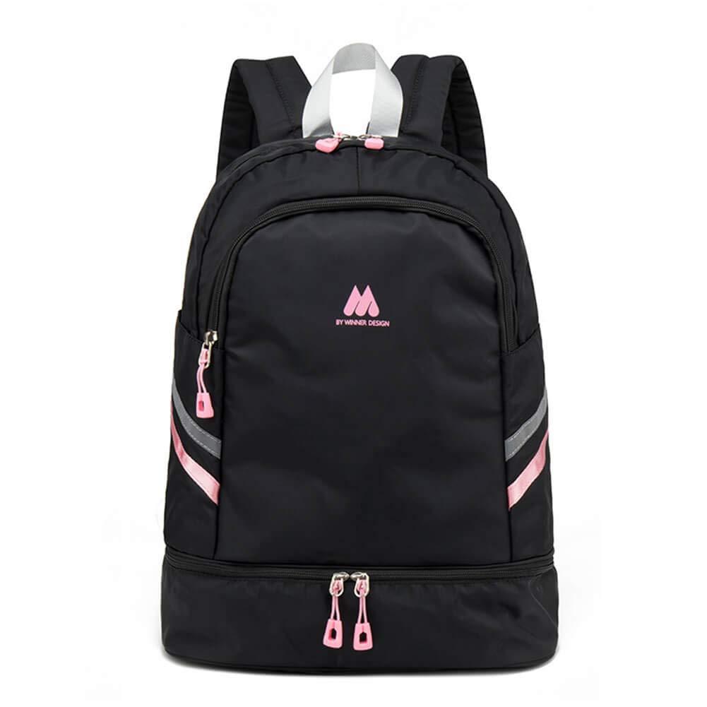 Women Sports Backpack Gym Bag with Shoe Compartment Wet Pocket Travel Backpacks Anti-Theft Pocket Water Resistant Workout Bag (Pink&Black)
