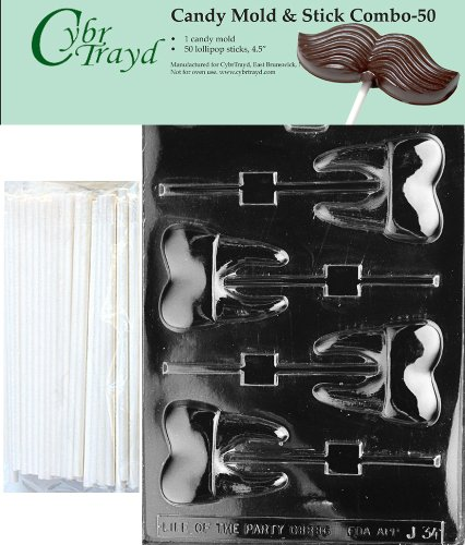 "Cybrtrayd 45St50-J034 Tooth Lolly Chocolate Candy Mold with 50 Cybrtrayd 4.5"" Lollipop Sticks"