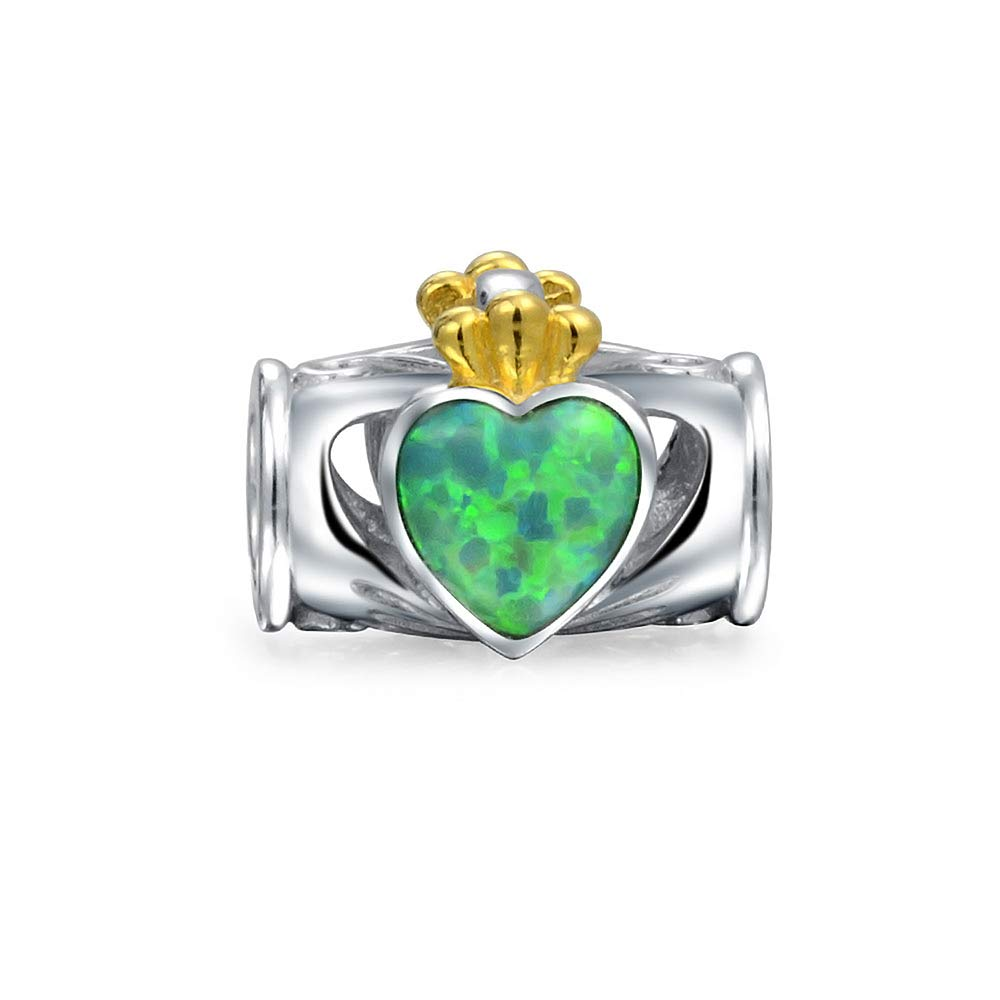 Green Created Opal Bff Heart Crown Claddagh Charm Bead For Women For Teen 925 Sterling Silver Fits European Bracelet