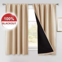 PONY DANCE Beige Blackout Curtains - (W 52 x L 54 inches, Biscotti Beige) 100% Light Blocking with Black Liner Drapes Short Curtains Double Layers for Bedroom Bay Windows, 2 PCs