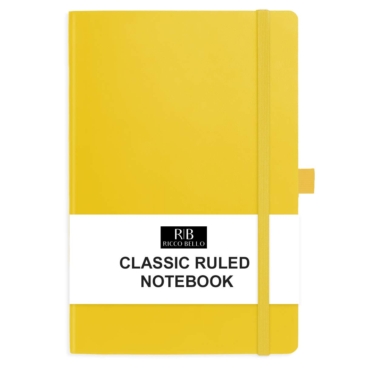 RICCO BELLO Classic College Ruled Hardcover Journal Notebook, Elastic Band Closure, Pen Holder, Vegan Leather, 5.7 x 8.4 inches (Yellow)