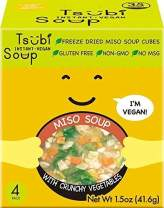 4 Pack Box - Tsubi Soup Classic Miso w/Spinach, Crunchy Cabbage & Carrots - VEGAN INSTANT SOUP, FREEZE-DRIED LOW CARB NON-GMO GLUTEN FREE NO MSG, 6 oz Servings
