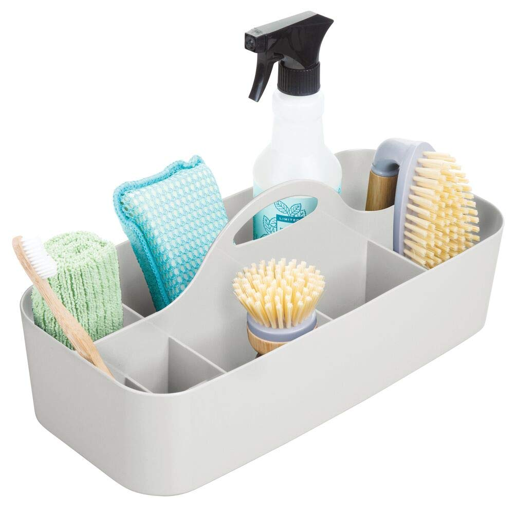 mDesign Plastic Portable Storage Organizer Caddy Tote, Divided Bin, Handle for Bathroom, Kitchen Laundry/Utility Closet - Holds Cleaning Supplies, Window Cleaner, Dust Cloths - Large - Light Gray