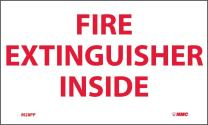 """NMC M28PP Fire Sign, """"FIRE EXTINGUISHER INSIDE"""", 5"""" Width x 3"""" Height, Pressure Sensitive Vinyl, Red on White"""