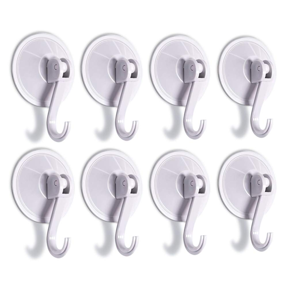 SUNDOKI Suction Cup Hooks, Kitchen Towel Hooks Removable Wall Vacuum Holder for Smooth Tile, Glass and Mirror(8 Pack)