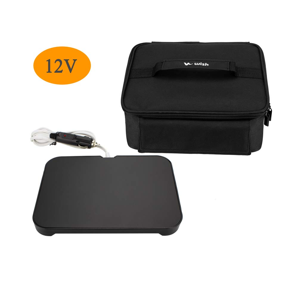 WISH Mini Portable Oven 12V Personal Food Warmer with Lunch Bag for Prepared Meals Reheat, Perfect for Car Camping - Black