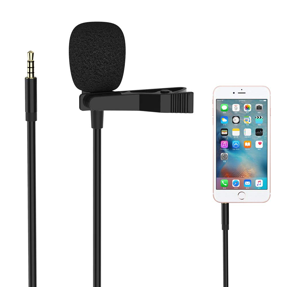 Lapel Lavalier Microphone for iPhone, Professional Omnidirectional Mic for iPhone, Mini Microphone for iPhone, Compatible with PC/Android Phone for Recording YouTube, Video Conference, Podcast(9.8ft)