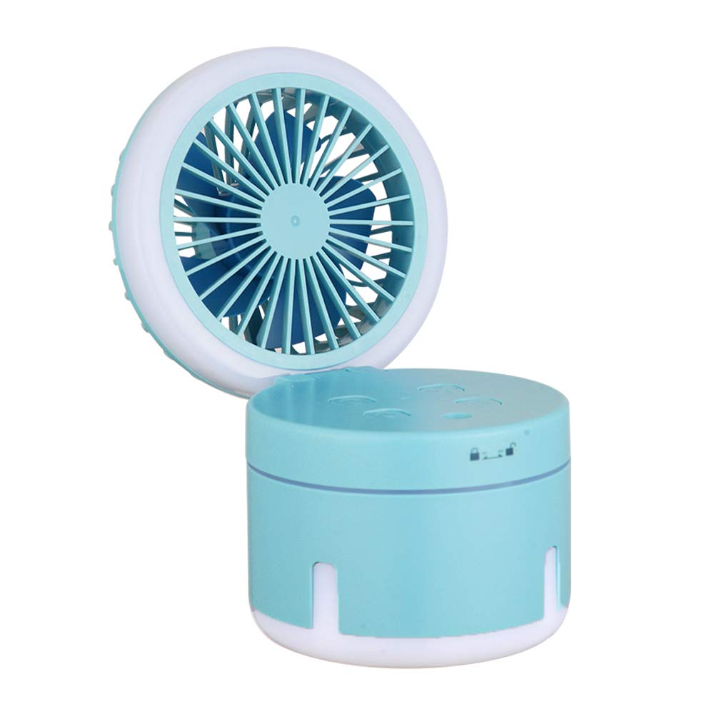 ArderLive Handheld Misting Fan, Portable Personal Fan with Mister Facial Steamer, 3 in 1 Water Spray Mist Fan with Cooling Humidifier&Nightlight,USB Charging for Office, Outdoor (Blue)