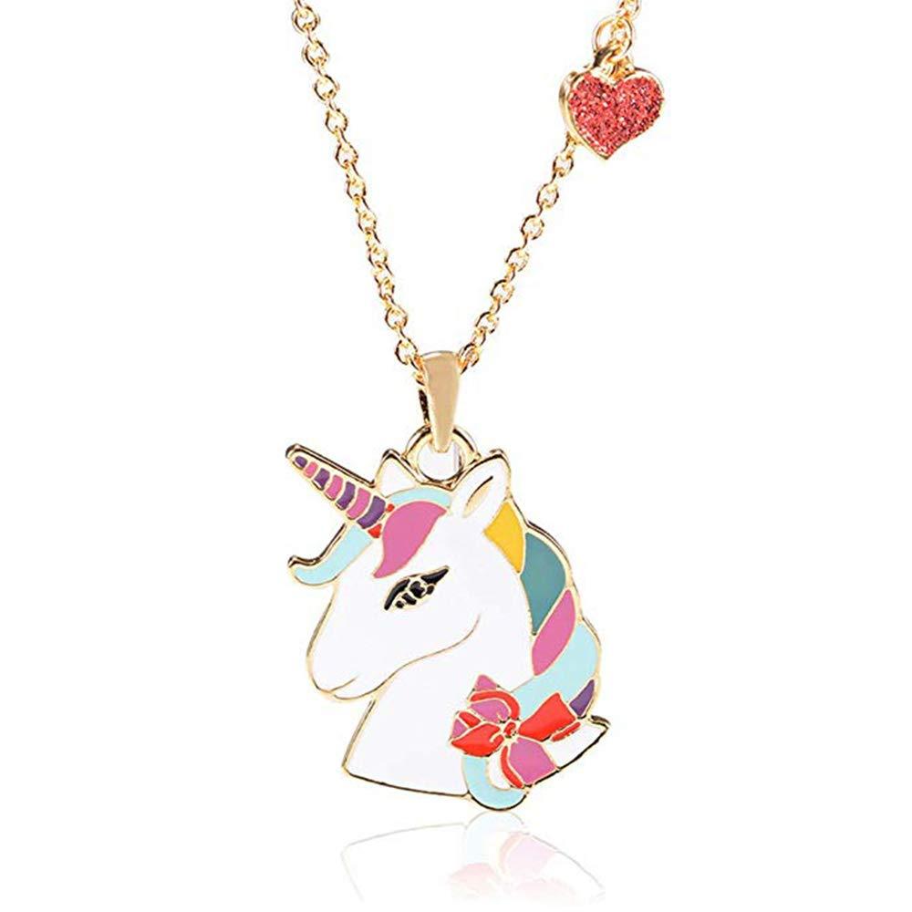 "Lanqueen Cute Llama Alpaca Unicorn Horse Necklaces for Kids Girls, Llama Unicorn Stud Earrings for Women Birthday Gift for Animal Lover 17"" +2.5"" Chain (Rainbow Unicorn Necklace_02)"