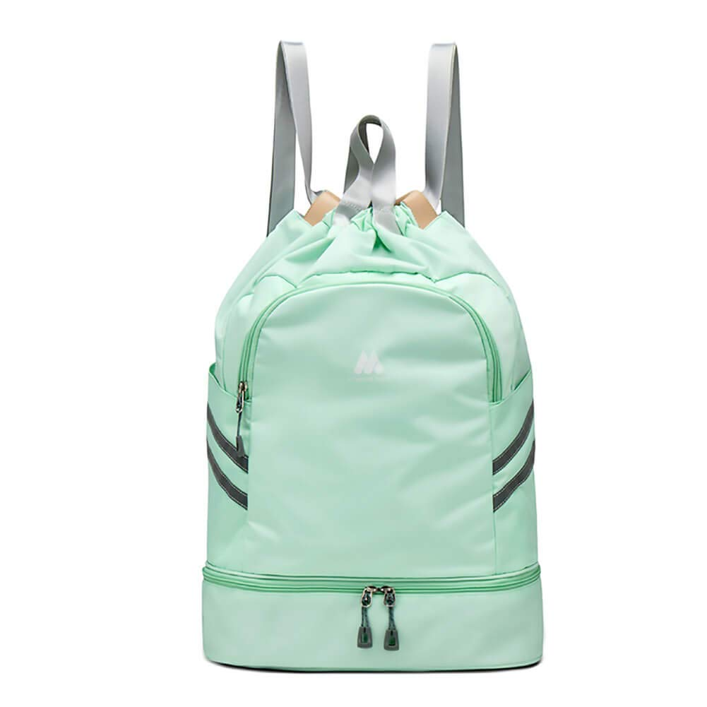 Women Sports Backpack Drawstring Gym Bag with Shoe Compartment Wet Pocket Anti-Theft Pocket Travel Backpacks Water Resistant Workout Bag (Light Green)