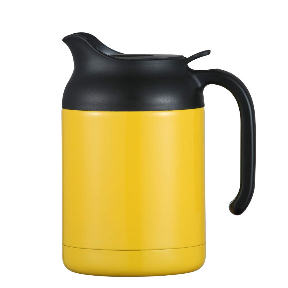 ArderLive 40.5oz Thermal Coffee Carafe,Stainless Steel Insulated Double Wall Vacuum Thermos/12 Hrs Heat Cold Retention (Yellow)