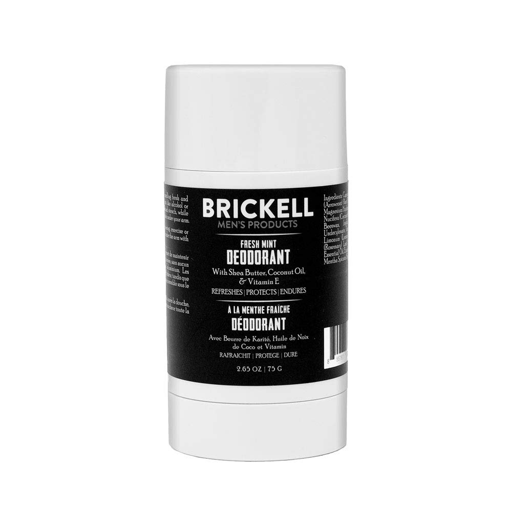 Brickell Men's Products Fresh Mint Natural Deodorant For Men, Natural and Organic, Aluminum, Alcohol, and Baking Soda Free, 2.65 Ounce, Scented