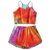 Nicetage Women's 2 Piece Cute Outfits Tie Dye Graphic Crop Tops and Shorts Set