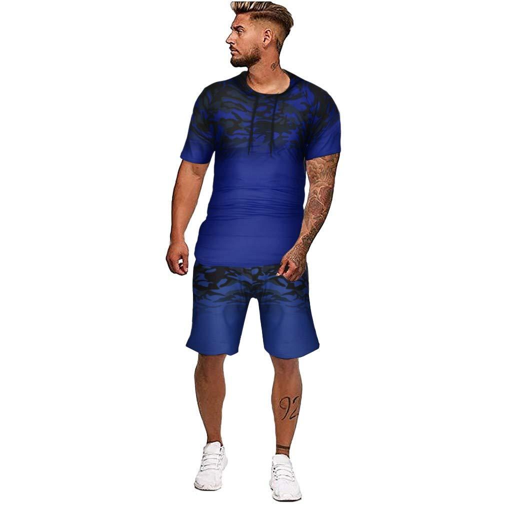 FORUU 2021 Mens Sport Set Summer Outfit 2 Piece Set Short Sleeve T Shirts and Shorts Stylish Casual Sweatsuit Set