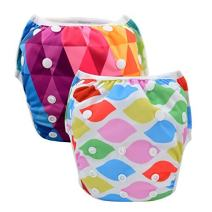 Babygoal 2 Pack Reusable Swim Diapers for Girls, Washable and Adjustable for Swimming & Baby Shower Gift Fit Babies 0-2 Years 2SWF08