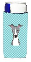 Caroline's Treasures BB1174MUK Checkerboard Blue Italian Greyhound Ultra Beverage Insulators for slim cans, Slim Can, multicolor