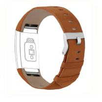 iGK Leather Replacement Bands Compatible for Fitbit Charge 2, Genuine Leather Wristbands Matte Brown