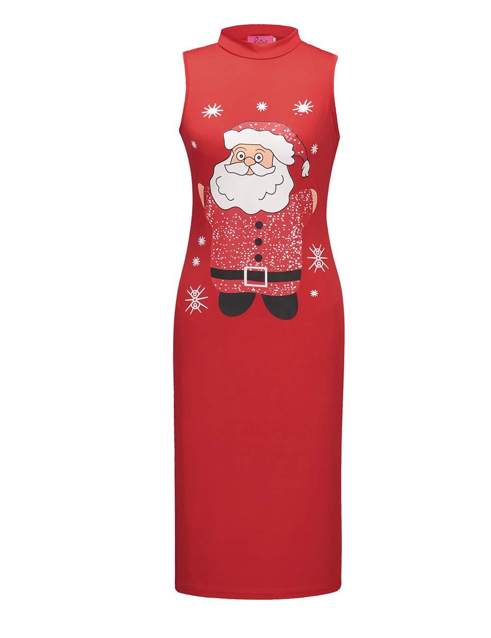 Ruiyige Womens Sleeveless Christmas Printed Loose Fit Mini Dress,#L1027 Red Santa Claus XX-Large…