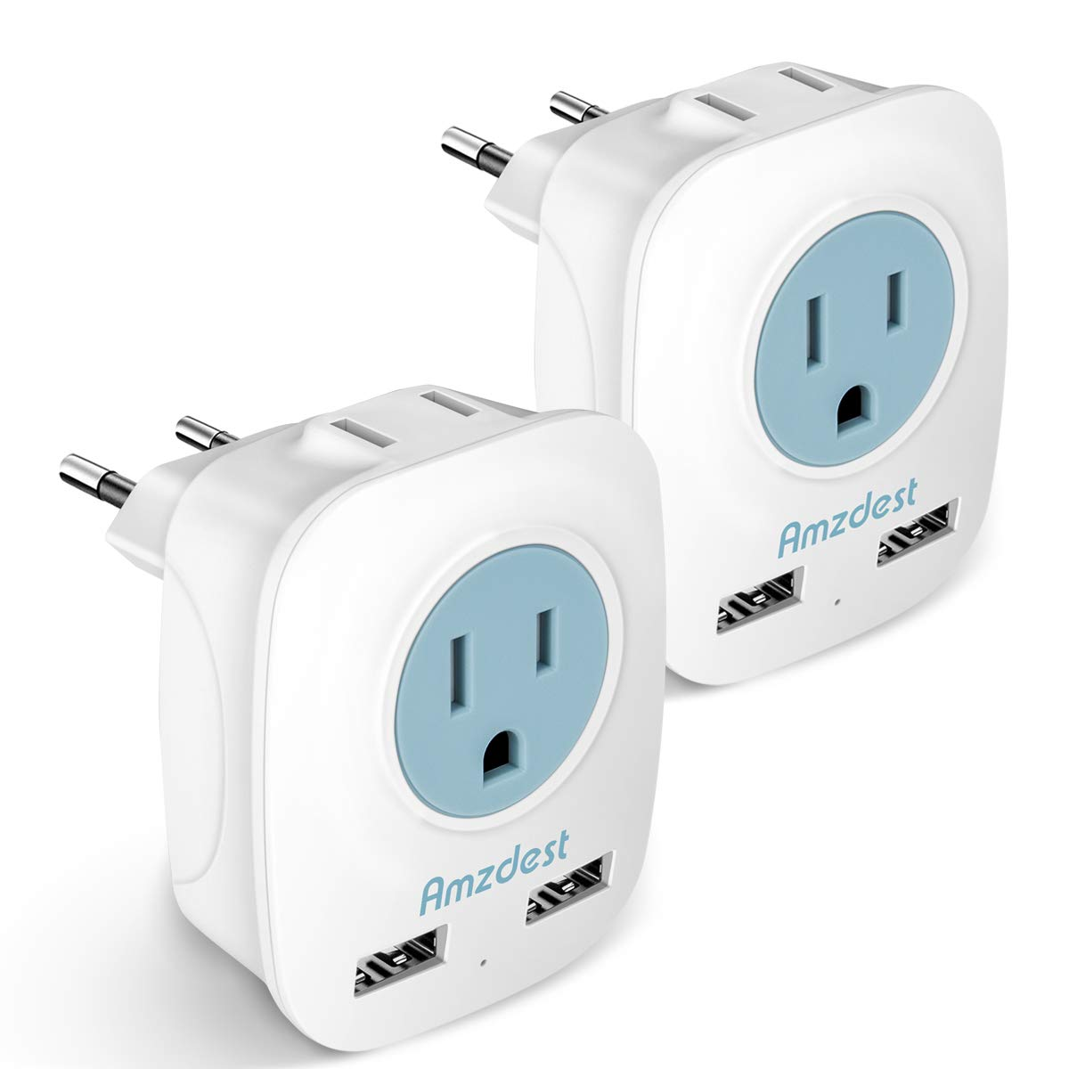 European plug adapter 2 Pack, Amzdest International Power Adapter with 2 USB& 2 AC Port, 4 in 1 Outlet Adapter for US to Most European Outlets Italy/Spain/France/Germany for High Power Appliances