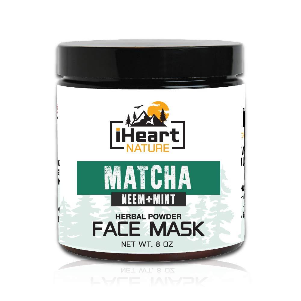 Green Tea Matcha Face Mask (DIY Powder with Organic Neem Mint) Reduces Wrinkles and Pores (Natural Anti-Aging Detoxifying Skin Lightening) Ayurvedic Cleansing Facial Mud Mask
