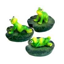 Danmu 3Pcs a Set Polyresin Floating Frogs Ornament for Fish Tank Aquarium Decoration