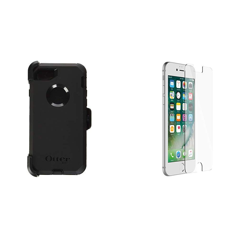 OtterBox Defender Series Case for iPhone 8 & iPhone 7 (NOT Plus) - Frustration Free Packaging - Black & ALPHA GLASS SERIES Screen Protector for iPhone 6/6s/7/8 (NOT Plus) - Retail Packaging - CLEAR