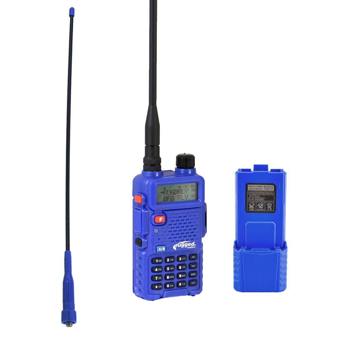 Rugged Radios RH5R-BUNDLE RH-5R Dual Band Handheld Two Way Radio with Ducky Antenna and High Capacity 3800mAh Battery Pack Kit