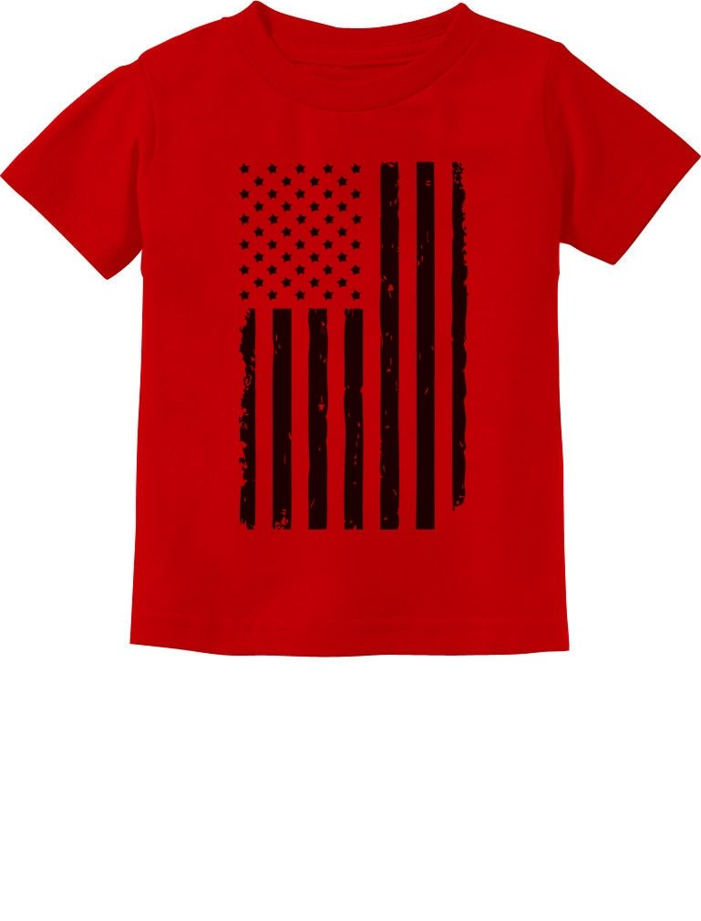 Big Black Distressed USA Flag 4th of July Toddler Infant Patriotic Kids T-Shirt