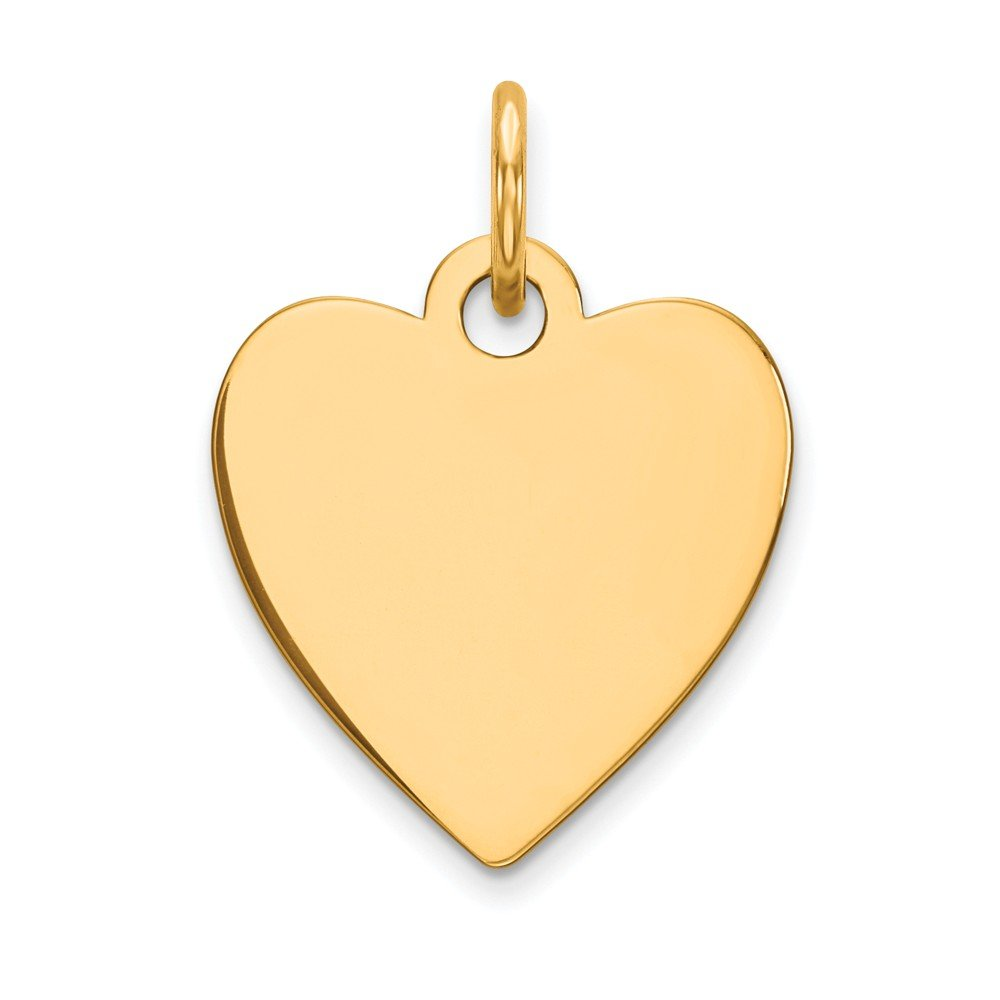 14k Yellow Gold .027 Gauge Engravable Heart Disc Pendant Charm Necklace Simple Shaped Plain Fine Mothers Day Jewelry For Women Gifts For Her