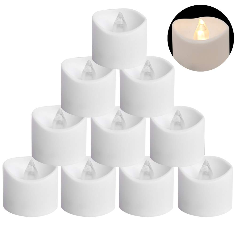 """Eldnacele LED Tealight Candles, Battery Operated & Included Plastic Tea Light, Electric Fake Candle Flickering Warm White Flame, for Decorationi & Celebration Pack of 12 (D1.4"""" x H1.3"""")"""