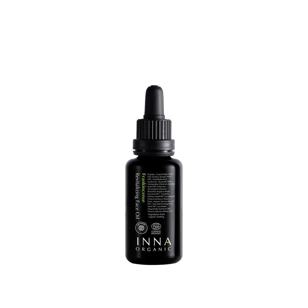 Inna Organic FRANKINCENSE REVITALIZING FACE OIL, Anti-aging, Wrinkle Care, Moisturizing, Luxury Clean Beauty, Certified Organic, 1 fl. oz.