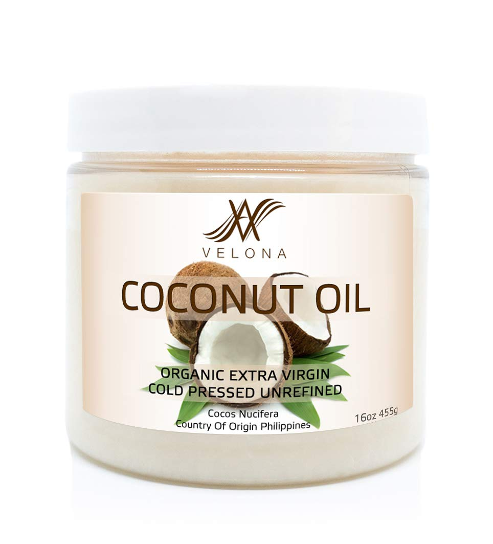 100% Natural Coconut Oil by Velona | All Natural Clear Carrier Oil for Face, Hair, Body and Skin Care | Extra Virgin, Expeller Pressed | in jar | Size: 24 oz