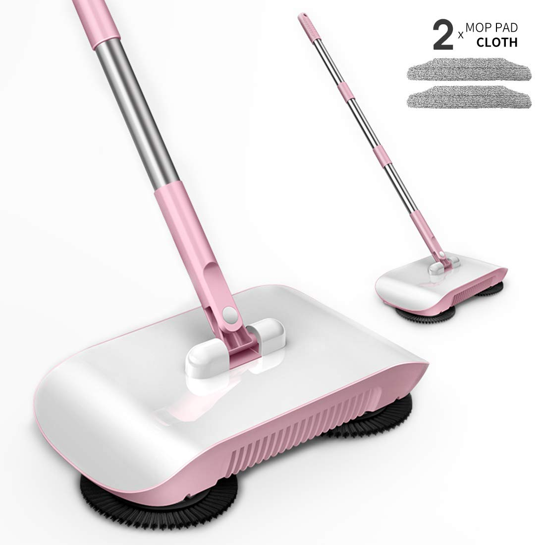 Rayzi Household Cleaning 360 Hand Push Automatic Sweeper Broom - Including Broom & Dustpan & Trash Bin - Non Electric for Tile,Marble, and Hardwood, 2 x Cloth (Pink)